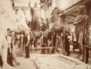 The magnificent Boadicea group being assembled at Singers in 1902, prior to departure from the foundry to be placed on the Embankment in London. This magnificent public sculpture is by Thomas Thorneycroft but the work was finished by his son Hamo, who is also well known for his other works that were all cast at Singers, including Oliver Cromwell and William Gladstone (London), King Alfred (Winchester) and the Figure of Peace, which forms the Luton War memorial