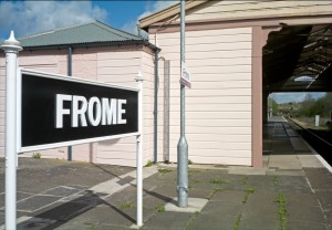 The sign at Frome Railway station, where you can find trains to destinations including Bath, Bristol and London