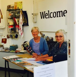 The friendly volunteers welcome you to the Discover Frome tourist information point at the Black Swan