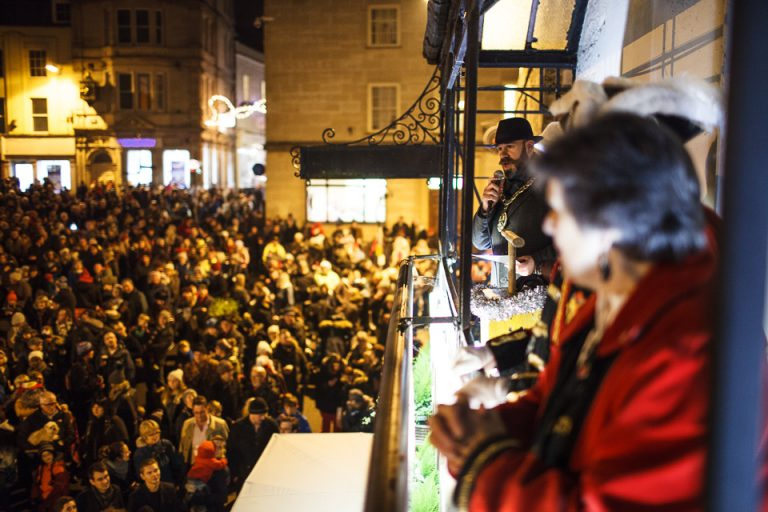 Crowds gather in Frome for the Christmas lights switch on
