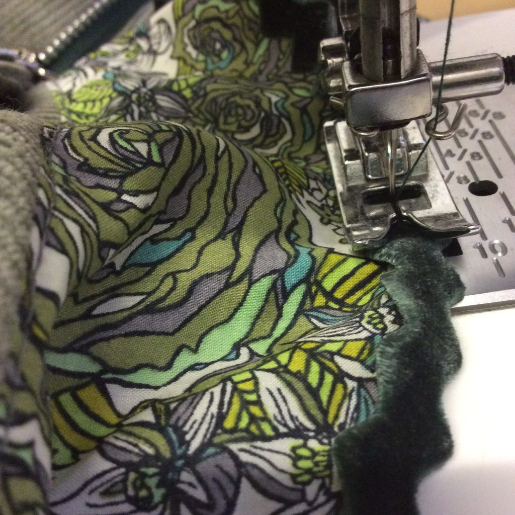 Material on a sewing machine