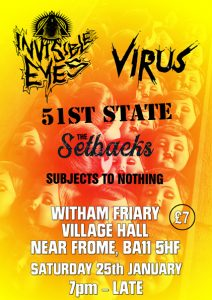 Poster for gig at Witham Friary village hall