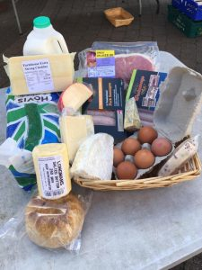 Box of dairy and meat produce