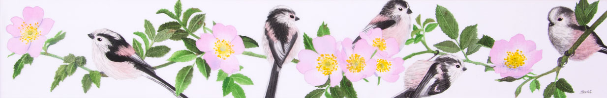 Painting of long tailed tits