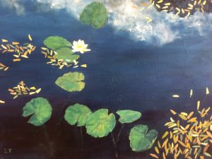 Painting: lily pads on pond