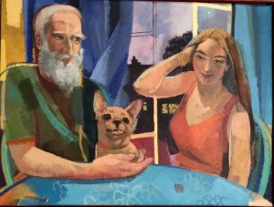 Painting: couple with dog