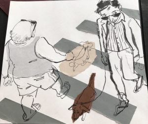 Artwork: people walking dogs