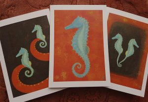 painting of seahorses