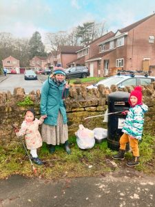 Frome resident Sam Widdows and family litter picking