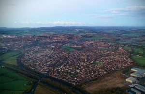 Aerial shot of heart-shaped Frome