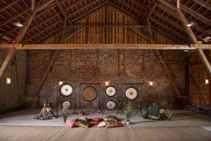 Mells Tithe barn interior