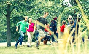 People wearing headphones running
