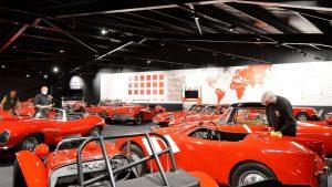Red vintage cars at Haynes Motor Museum