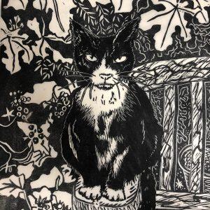Cat lino cut artwork by Steven Jenkins