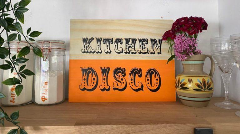 Kitchen Disco wooden sign