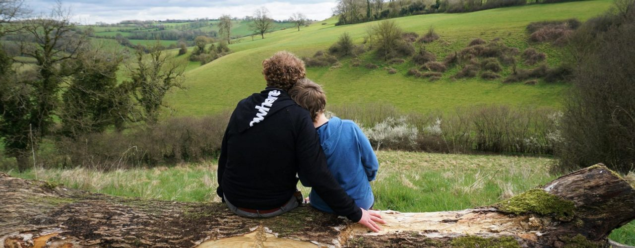 people enjoying a countryside view