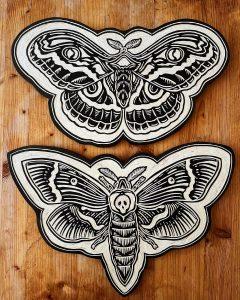 moth woodcut
