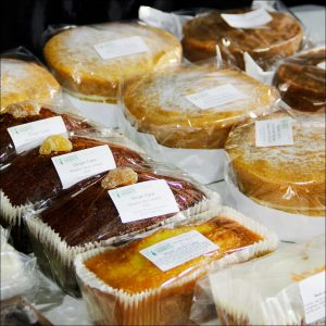 Cakes on a market stall