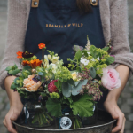 Flower posies on a tray